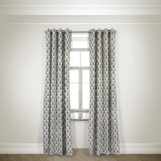 L and R Home Harlequin Black Grommet top 108-inch Curtain Panel Pair