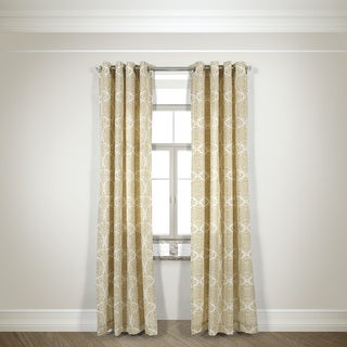 L and R Home Harlequin Beige 108-inch Grommet-top Curtain Panel Pair