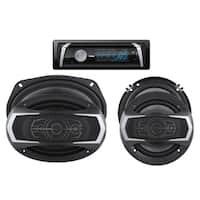 DS18 Bluetooth Single Din Detachable Car Radio with CD/USB/Bluetooth/AM/FM/AUX Player and Coaxial Speaker Audio Stereo Package