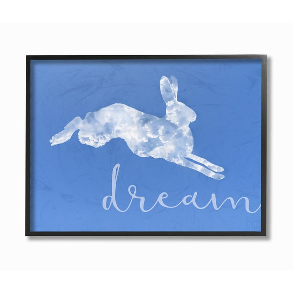'Dreamer Cloud Bunny' Framed Giclee Texturized Art