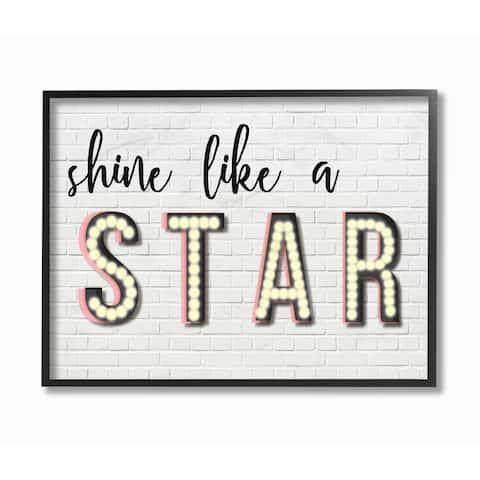 Shine Like a Star Typography Framed Giclee Texturized Art