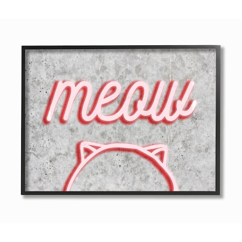 'Meow Neon Kitty Sign' Framed Giclee Texturized Art