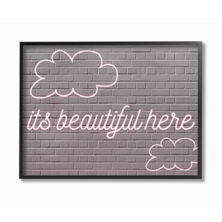 'It's Beautiful Here Neon Clouds Pink' Framed Giclee Texturized Art (2 options available)