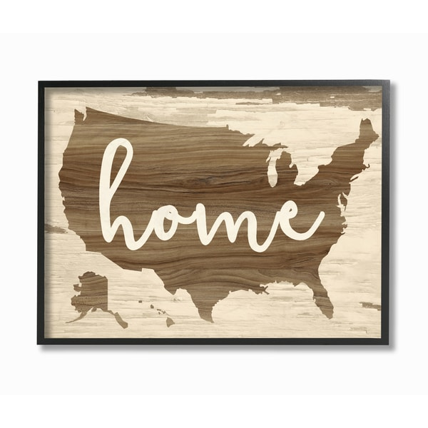 Home Distressed Wood US Map Framed Giclee Texturized Art Free - Us map framed