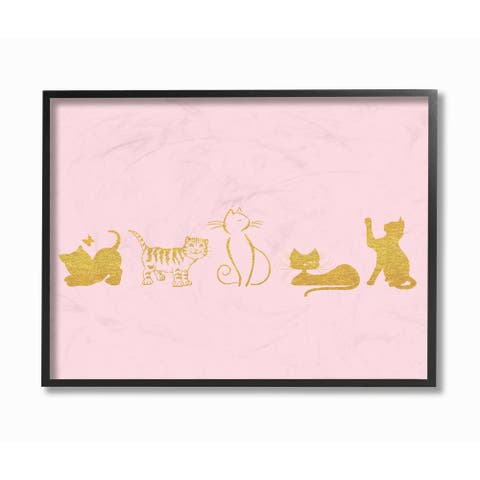 'Gold Cat Silhouette - Pink' Framed Giclee Texturized Art