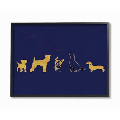 'Gold Dog Silhouette - Navy' Framed Giclee Texturized Art