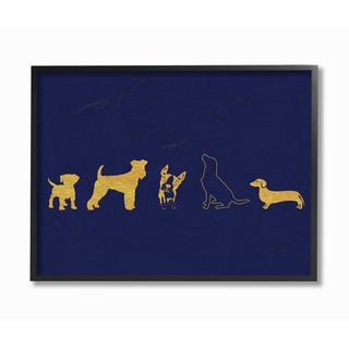 'Gold Dog Silhouette - Navy' Framed Giclee Texturized Art