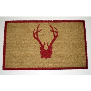 Caramel and Red Antler Doormat with Red Trim