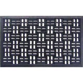 Black Rubber Basket Weave Doormat