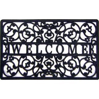 Black Rubber Outdoor All-weather 'Welcome' Cutout Doormat