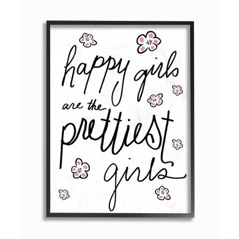 'Happy Girls Are the Prettiest Girls' Framed Giclee Texturized Art