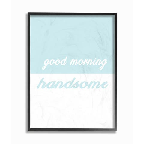 'Good Morning Handsome - Split Teal' Framed Giclee Texturized Art