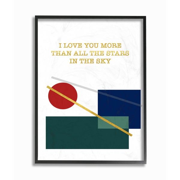 'Love You More Than Graphic Modern with Gold and Silver' Framed Giclee Texturized Art