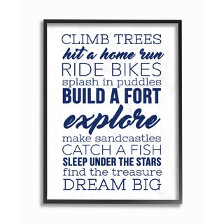 'Climb Trees Dream Big - Navy with White ' Framed Giclee Texturized Art