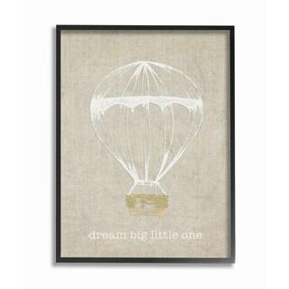 'Dream Big Little One - Hot Air Balloon' Framed Giclee Texturized Art - Grey