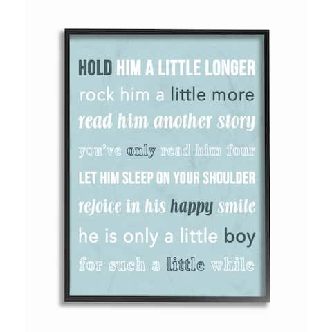'Hold Him A Little Longer Teal' Framed Giclee Texturized Art