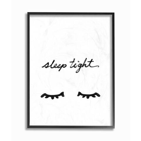 'Sleep Tight Eyelash Minimalist' Framed Giclee Texturized Art