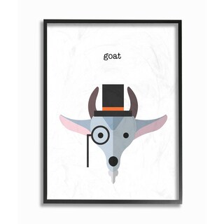 'Typographic Hipster Goat' Framed Giclee Texturized Art