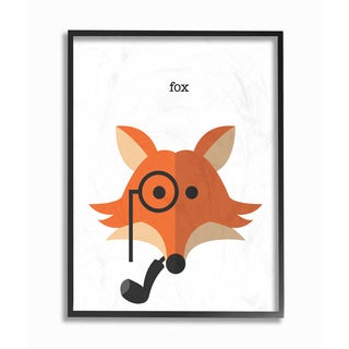 Typographic Woodland Creature with Pipe' Framed Giclee Texturized Art
