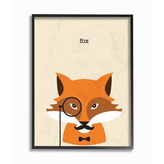 'Typographic Hipster Fox' Framed Giclee Texturized Art