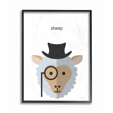 'Typographic Hipster Sheep' Framed Giclee Texturized Art