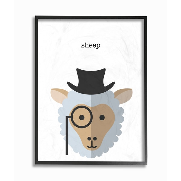 'Typographic Hipster Sheep' Framed Giclee Texturized Art. Opens flyout.