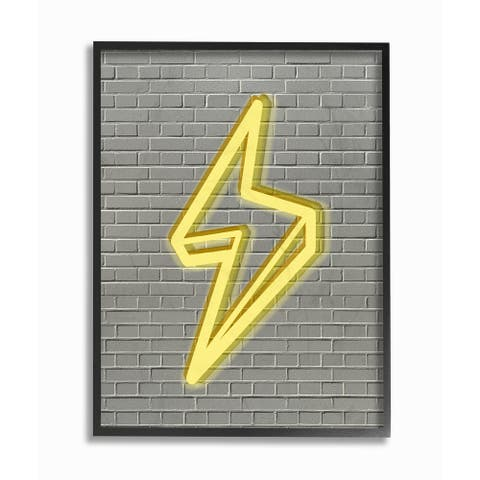 'Neon Lightning with Brick Background' Framed Giclee Texturized Art