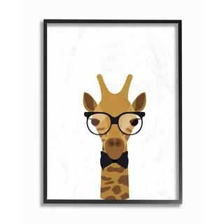 'Graphic Hipster Giraffe' Framed Giclee Texturized Art