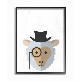 'Hipster Sheep' Framed Giclee Texturized Art