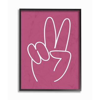 'Peace Sign - Pink and White' Framed Giclee Texturized Art