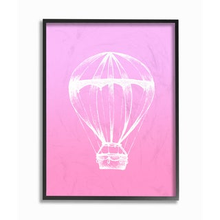 'Graphic Hot Air Balloon - White and Pink' Framed Giclee Texturized Art