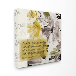 EtchLife 'Love the Lord With Heart Soul and Strength' Stretched Canvas Wall Art - Yellow