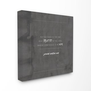 EtchLife 'Blessed Is The One Who Trusts' Stretched Canvas Wall Art - Grey