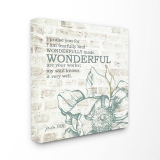 EtchLife 'Fearfully and Wonderfully Made' Typography Stretched Canvas Wall Art