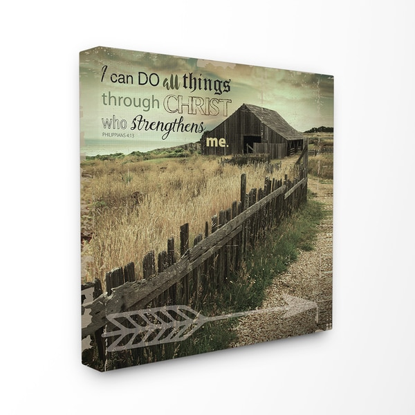 Stupell EtchLife 'I Can Do All Things Pasture Photograph' Stretched Canvas Wall Art