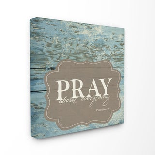 EtchLife 'Pray About Everything' Stretched Canvas Wall Art - White