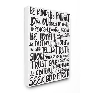 Link to EtchLife 'Virtures Black and White' Canvas Typography Stretched Wall Art Similar Items in Art Prints