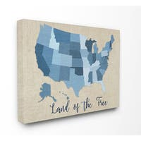 'Land Of The Free Denim Map' Stretched Canvas Wall Art