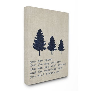 'You are Loved Son Trees' Stretched Canvas Wall Art - Grey