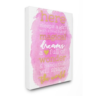 'Here Sleeps a Girl - Pink and Gold' Typography Stretched Canvas Wall Art