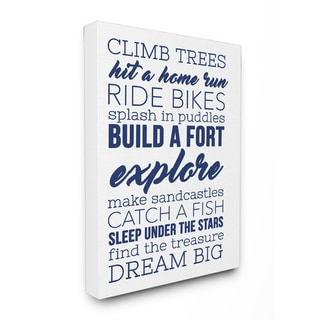 'Climb Trees Dream Big - Navy with White ' Stretched Canvas Wall Art