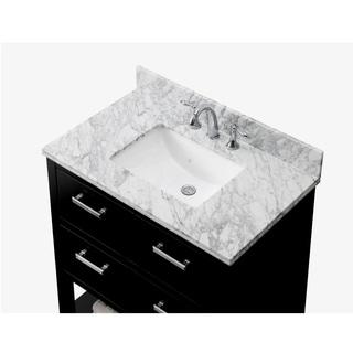 Contemporary 36-inch Carrara White Marble Espresso Single Vanity
