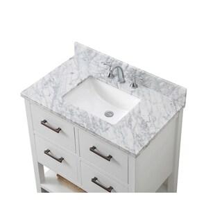 Contemporary 36-inch Carrara White Marble White Single Vanity