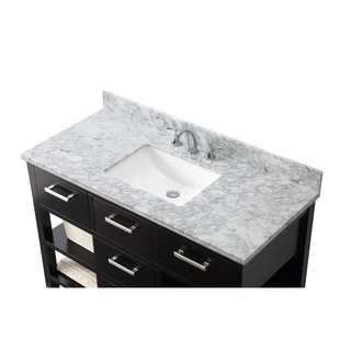 Contemporary 48-inch Carrara White Marble Espresso Single Vanity