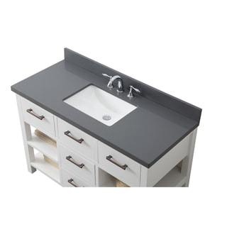 Contemporary 48-inch Extra Thick Grey Quartz Marble White Single Vanity