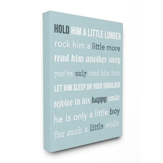 'Hold Him A Little Longer Teal' Stretched Canvas Wall Art