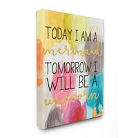 'Today Mermaid Tomorrow Unicorn' Stretched Canvas Wall Art