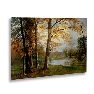 Albert Bierstadt 'A Quiet Lake' Floating Brushed Aluminum Art