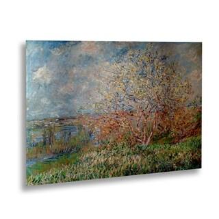 Claude Monet 'Spring 1880' Floating Brushed Aluminum Art