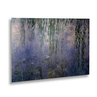Claude Monet 'Water Lilies III' Floating Brushed Aluminum Art - Multi - 16 x 22